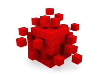 Cube assembling from blocks. This is a 3d render illustration